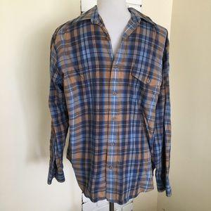 Perry Ellis Plaid Flannel Shirt M Button Up